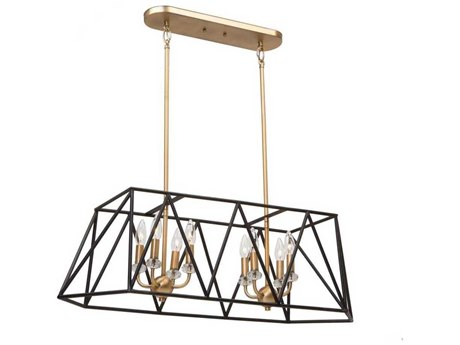 Artcraft Lighting Harmony Black / Satin Brass Eight-Light 36'' Wide Island Light ACAC11032