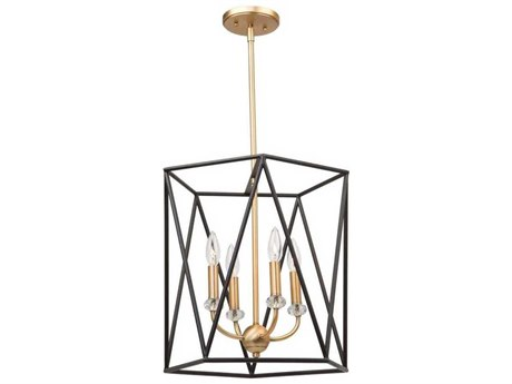 Artcraft Lighting Harmony Black / Satin Brass Four-Light 16'' Wide Mini Chandelier