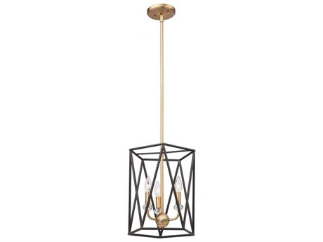 Artcraft Lighting Harmony Black / Satin Brass Three-Light 14'' Wide Mini Chandelier