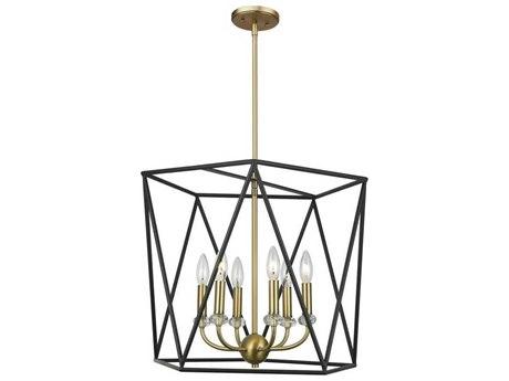 Artcraft Lighting Harmony Black / Satin Brass Six-Light 20'' Wide Mini Chandelier