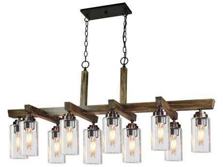 Artcraft Lighting Home Glow Distressed Pine Ten-Light 48'' Wide Island Light ACAC10860DP
