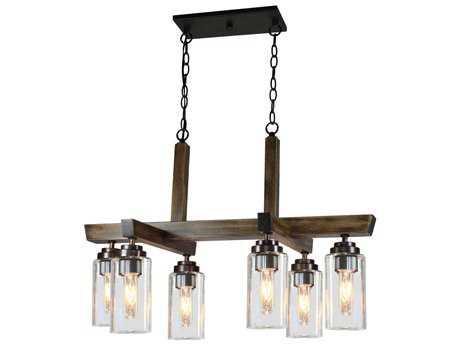 Artcraft Lighting Home Glow Distressed Pine Six-Light 31'' Wide Island Light ACAC10866DP