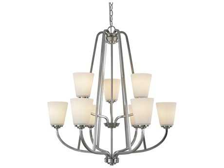 Artcraft Lighting Hudson Brushed Nickel Nine-Light 28.75'' Wide Chandelier