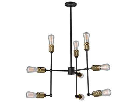 Artcraft Lighting Jersey Vintage Brass Nine-Light 25.25'' Wide Chandelier