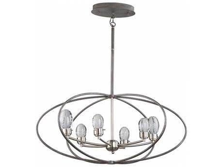 Artcraft Lighting Kingsford Slate & Brushed Nickel Six-Light 36'' Wide LED Chandelier ACAC7456