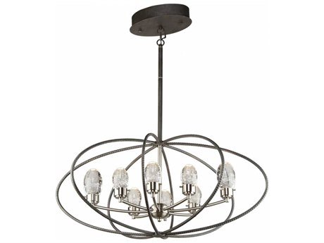 Artcraft Lighting Kingsford Slate & Brushed Nickel Eight-Light 36'' Wide LED Chandelier ACAC7458