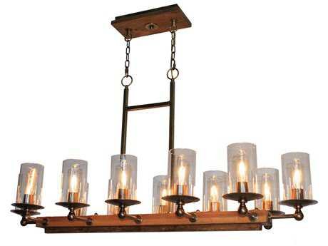 Artcraft Lighting Legno Rustico Burnished Brass 12-Light 17'' Wide Island Light ACAC10140BB