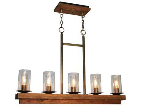 Artcraft Lighting Legno Rustico Burnished Brass Five-Light Island Light ACAC10145BB