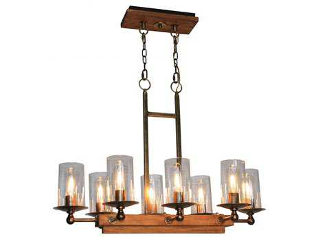 Artcraft Lighting Legno Rustico Burnished Brass Eight-Light Island Light