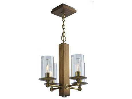 Artcraft Lighting Legno Rustico Burnished Brass Four-Light 10'' Wide Mini-Chandelier