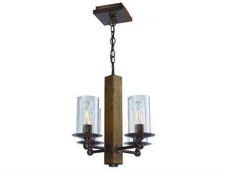 Artcraft Lighting Legno Rustico Brunito Four-Light 16'' Wide Mini-Chandelier ACAC10144BU
