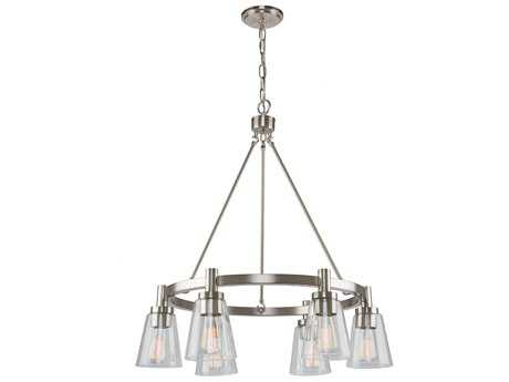 Artcraft Lighting Lux Brushed Nickel Six-Light 28'' Wide Chandelier ACAC10765BN
