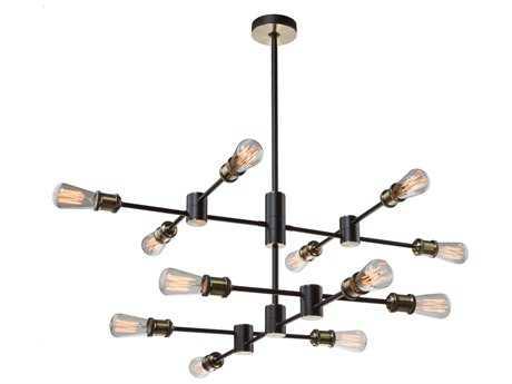 Artcraft Lighting Lux Matte Black & Satin Brass 12-Light 36'' Wide Chandelier ACAC10782BK