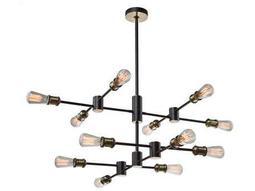 Lux Matte Black & Satin Brass 12-Light 36'' Wide Chandelier