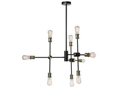 Artcraft Lighting Lux Matte Black & Satin Brass Nine-Light 35'' Wide Chandelier ACAC10789BK