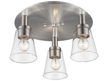 Artcraft Lighting Lux Brushed Nickel Three-Light 17'' Wide Flush Mount Light ACAC10768BN