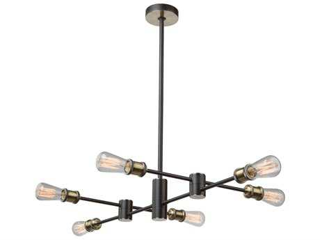Artcraft Lighting Lux Matte Black & Satin Brass Six-Light 20'' Wide Mini Chandelier ACAC10786BK