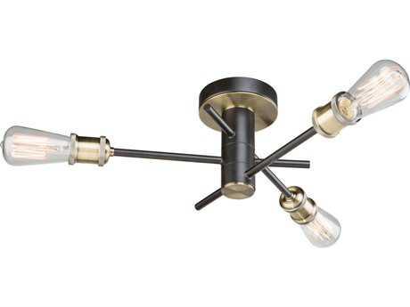 Artcraft Lighting Lux Matte Black & Satin Brass Three-Light 19'' Wide Semi-Flush Mount Light ACAC10783BK