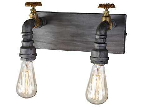 Artcraft Lighting Lux Iron & Brass Two-Light Wall Sconce ACAC10812
