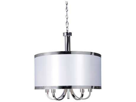 Artcraft Lighting Madison White with Chrome Five-Light 24'' Wide Chandelier ACSC435WH