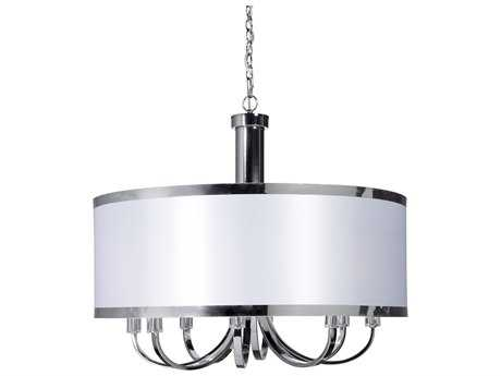 Artcraft Lighting Madison White & Chrome Eight-Light 30'' Wide Chandelier ACSC438WH