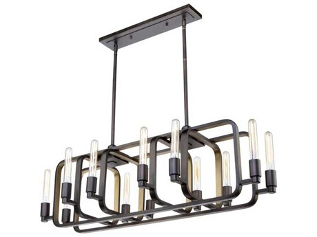 Artcraft Lighting Marlborough Oil Rubbed Bronze / Gold Leaf 12-Light 41'' Wide Island Light ACAC11081