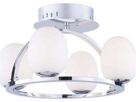 Artcraft Lighting Meridian Chrome 16'' Wide Glass LED Semi-Flush Mount ACAC7994