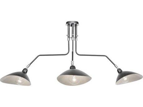 Artcraft Lighting Nero Black / White Interior Three-Light 41'' Wide Semi-Flush Mount Light