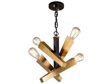 Artcraft Lighting Olympia Black / Satin Brass Four-Light 10'' Wide Mini Pendant Light ACAC11154