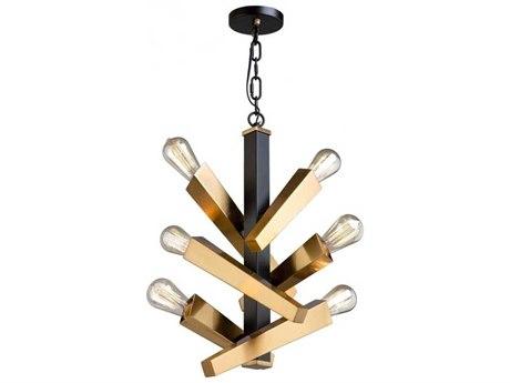 Artcraft Lighting Olympia Black / Satin Brass Six-Light 10'' Wide Mini Pendant Light ACAC11157