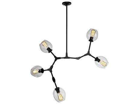 Artcraft Lighting Organic Black Five-Light 40'' Wide Chandelier ACJA14025BK