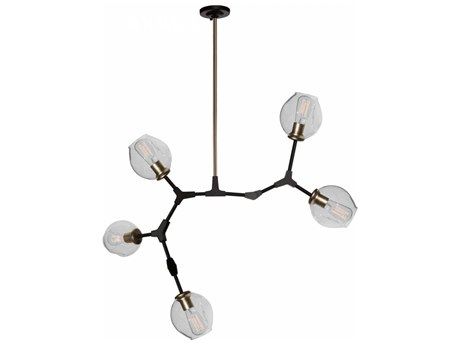 Artcraft Lighting Organic Vintage Brass Five-Light 40'' Wide Chandelier ACJA14025VB