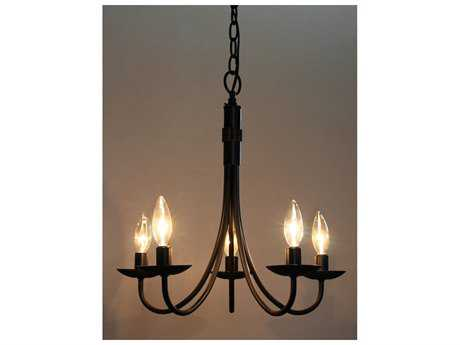 Artcraft Lighting Pot Racks Black Five-Light 17'' Wide Mini Chandelier ACAC1785EB