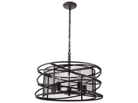 Artcraft Lighting Rebar Studio Dark Java Brown Five-Light 22'' Wide Chandelier ACAC10822JV