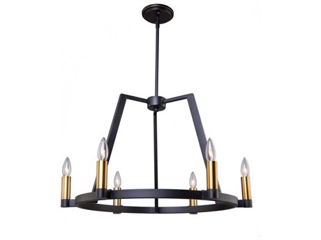 Artcraft Lighting Regent Black / Satin Brass Six-Light 26'' Wide Chandelier ACAC11126