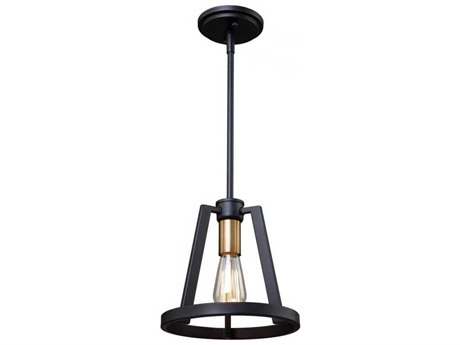 Artcraft Lighting Regent Black / Satin Brass 10'' Wide Mini Pendant Light ACAC11121
