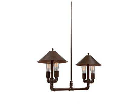 Artcraft Lighting Revival Brown & Rust Four-Light 31'' Wide Island Light ACAC10644RU