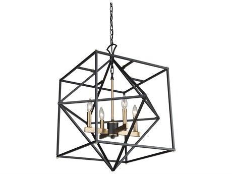 Artcraft Lighting Roxton Matte Black / Harvest Brass 25'' Wide Medium Chandelier ACAC11204
