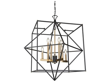 Artcraft Lighting Roxton Matte Black / Harvest Brass 32'' Wide Medium Chandelier