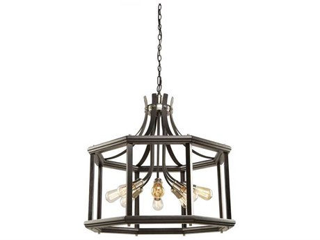 Artcraft Lighting Sandalwood Brushed Nickel Eight-Light 29'' Wide Chandelier ACAC11228BN