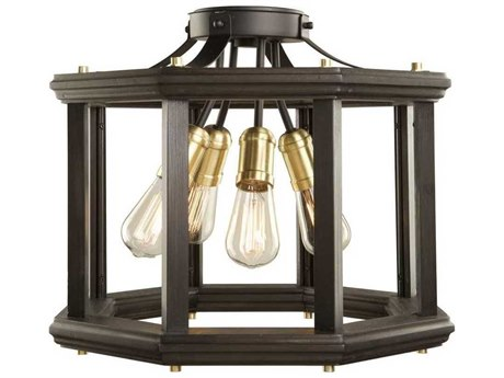 Artcraft Lighting Sandalwood Satin Brass Four-Light 18'' Wide Flush Mount Light ACAC11224SB