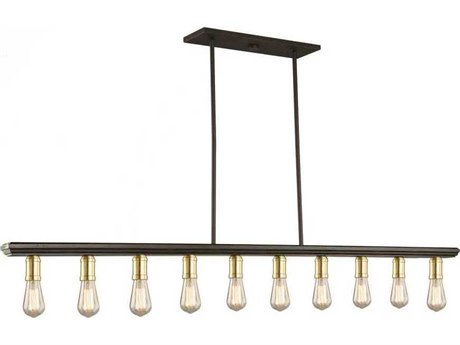 Artcraft Lighting Sandalwood Satin Brass Ten-Light 60'' Wide Island Light ACAC11351SB