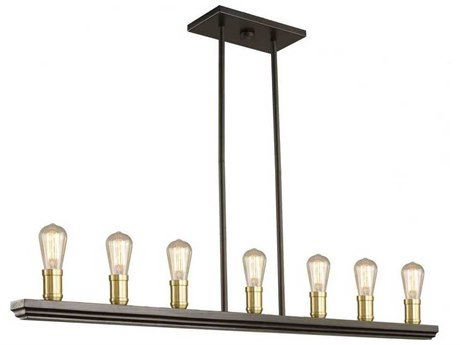 Artcraft Lighting Sandalwood Satin Brass Seven-Light 40'' Wide Island Light ACAC11357SB