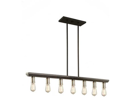 Artcraft Lighting Sandalwood Brushed Nickel Seven-Light 40'' Wide Island Light ACAC11358BN