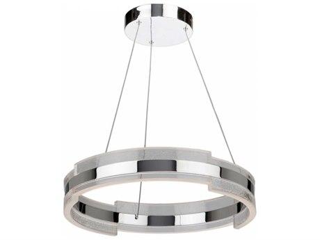 Artcraft Lighting Saturn Chrome & Clear 24'' Wide LED Pendant Light ACAC7471CH