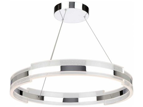 Artcraft Lighting Saturn Chrome & Clear 28'' Wide LED Pendant Light ACAC7472CH