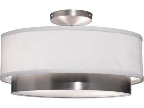 Artcraft Lighting Scandia Brushed Nickel & White Linen Two-Light 16'' Wide Semi-Flush Mount Light ACSC785