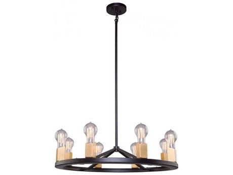 Artcraft Lighting Skyline Dark Bronze / Satin Brass Eight-Light 24'' Wide Chandelier ACAC11108