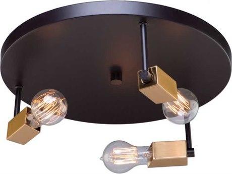 Artcraft Lighting Skyline Dark Bronze / Satin Brass Three-Light 16'' Wide Flush Mount Light ACAC11103
