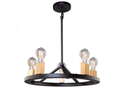 Artcraft Lighting Skyline Dark Bronze / Satin Brass Five-Light 18'' Wide Mini Chandelier ACAC11105